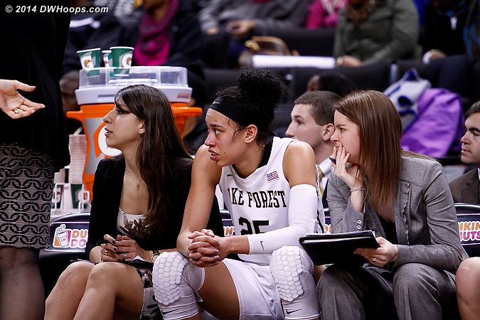 Hamby finally took a rest after 19 straight minutes  - WAKE Players: #25 Dearica Hamby, Assistant Coach Clarisse Garcia