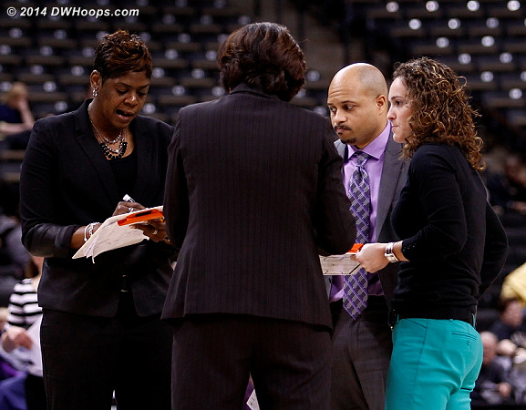 A good look at Miami's assistants, Kieger on the right  - MIA Players: Assistant Coach Darrick Gibbs, Assistant Coach Carolyn Kieger, Assistant Coach Octavia Blue