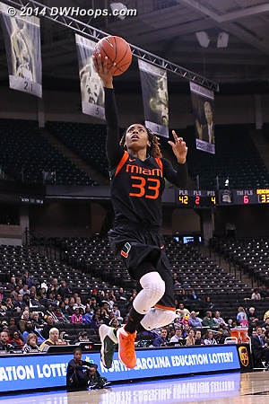 Suriya McGuire's game-high 22 points led Miami to an 84-53 victory over Wake Forest in Winston-Salem Saturday.