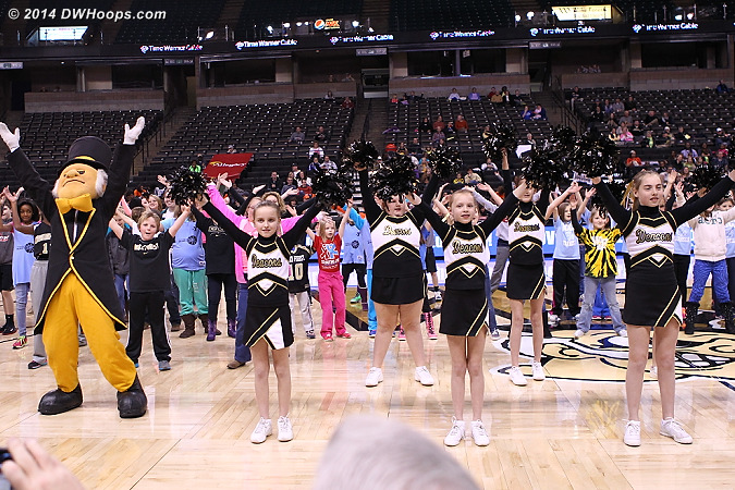 The loudest moment of the afternoon for the Wake faithful was the junior cheerleaders, Deacon, and the kids in attendance doing the Y.M.C.A.  - WAKE Players: Mascot Demon Deacon,  Wake Forest Cheerleaders,  Wake Forest Fans