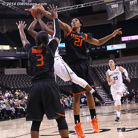 Looks like a blocked shot for Williams, but absent from the score book.  - WAKE Players: #5 Chelsea Douglas - MIA Tags: #3 Jessica Thomas, #21 Jassany Williams