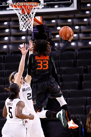 Canes go up by 30  - MIA Players: #33 Suriya McGuire