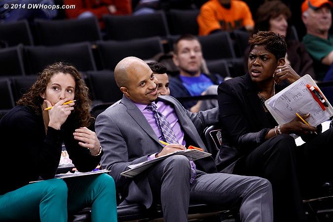 ACCWBBDigest Photo  - MIA Players: Assistant Coach Darrick Gibbs, Assistant Coach Carolyn Kieger, Assistant Coach Octavia Blue