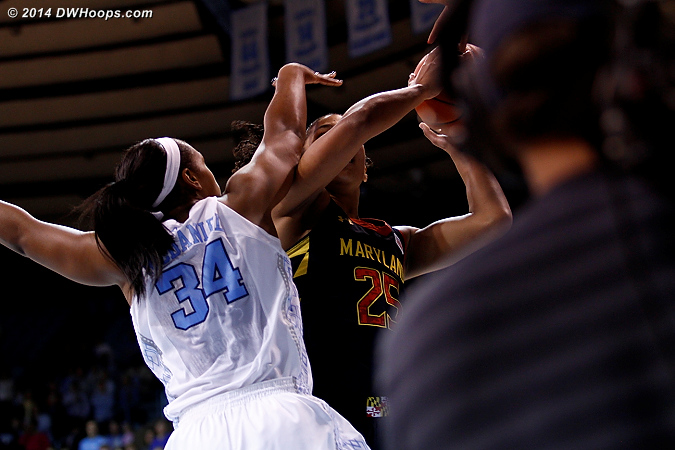 Xylina McDaniel drew foul #1 just as the TV cameraman scooted up.  I moved over, while McDaniel moved to the bench 26 seconds later with foul #2.  - UNC Players: #34 Xylina McDaniel - MD Tags: #25 Alyssa Thomas