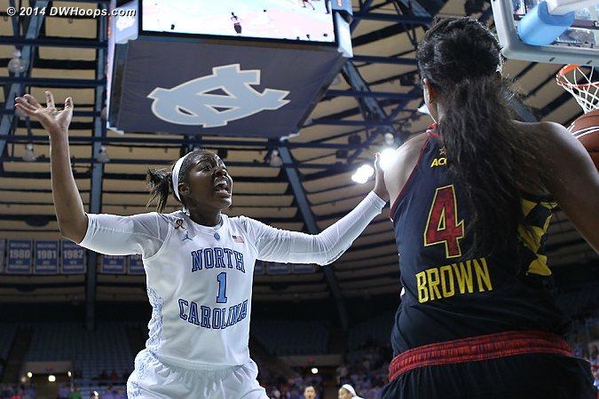 Forcing the five second call  - UNC Players: #1 Stephanie Mavunga - MD Tags: #4 Lexie Brown