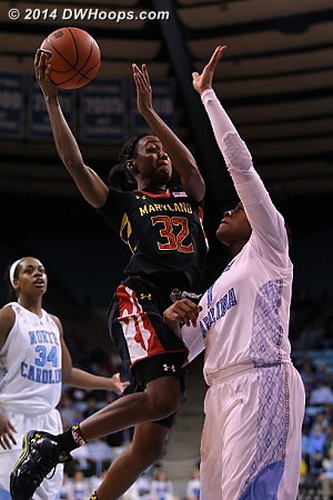 SWK ups her total to nine points, almost her average of 11 and still with six minutes left in the first half  - UNC Players: #1 Stephanie Mavunga - MD Tags: #32 Shatori Walker-Kimbrough