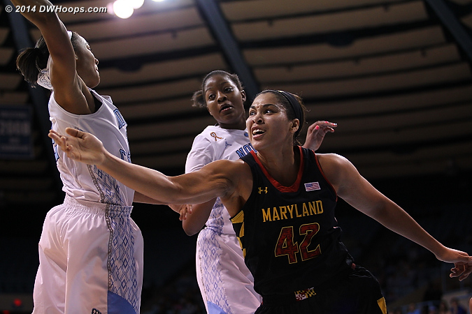 Angling for an offensive rebound  - UNC Players: #2 Latifah Coleman, #1 Stephanie Mavunga - MD Tags: #42 Brionna Jones