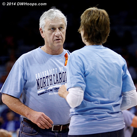 Two of the shag dancers, all wore orange ribbons in support of Hatchell  - UNC Players:  UNC Fans