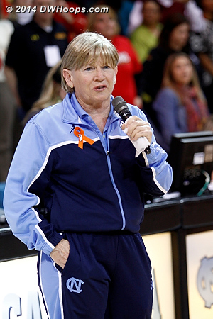 With a couple tears in her eyes, coach Hatchell began her short speech  - UNC Players: Head Coach Sylvia Hatchell