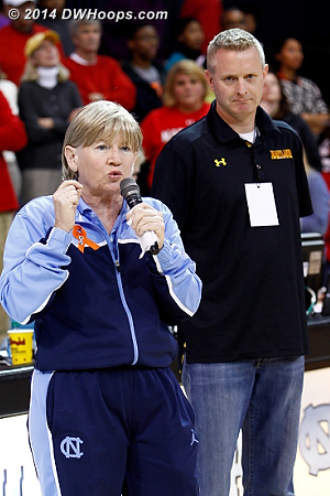 Coach Hatchell, with coach Frese's husband Mark Thomas by her side, stated that Maryland and UNC were