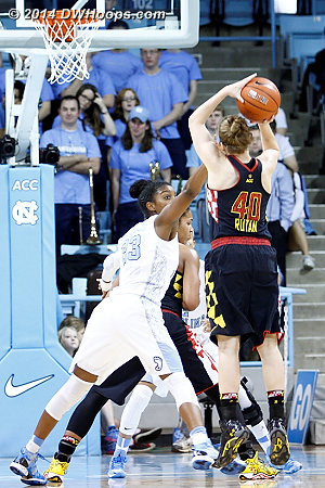 Second three of the second half for Rutan, 50-37 Maryland  - UNC Players: #23 Diamond DeShields - MD Tags: #40 Katie Rutan
