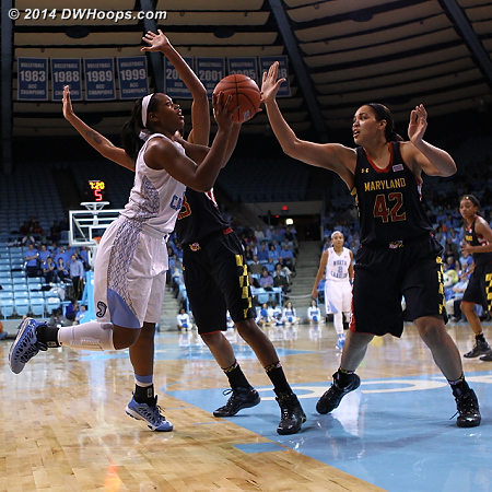 McDaniel missed this high degree of difficulty shot, but at least Carolina got the rebound  - UNC Players: #34 Xylina McDaniel