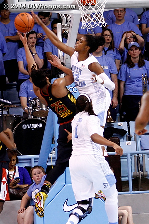 DeShields came out of nowhere to block Thomas, a huge crowd reaction at the under four time out  - UNC Players: #23 Diamond DeShields - MD Tags: #25 Alyssa Thomas