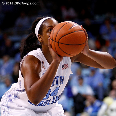 McDaniel wasted the chance to cut it to a two possession game by missing both free throws  - UNC Players: #34 Xylina McDaniel