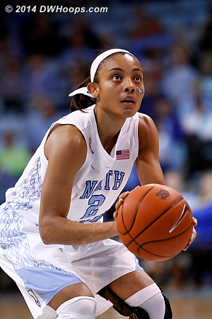 With just 1:17 left and the margin still at eight, Coleman also missed a pair of free throws.  - UNC Players: #2 Latifah Coleman