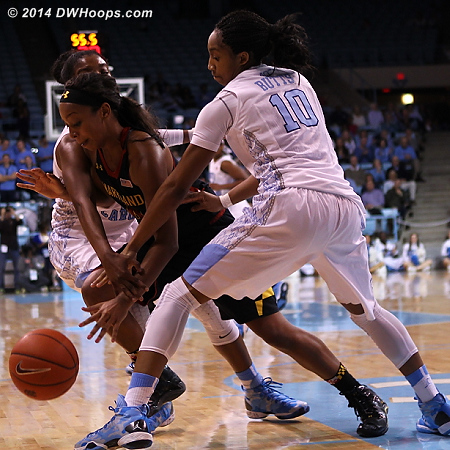 Carolina was forced to foul, twice choosing the freshman who would calmly drain four free throws  - UNC Players: #10 Danielle Butts - MD Tags: #4 Lexie Brown
