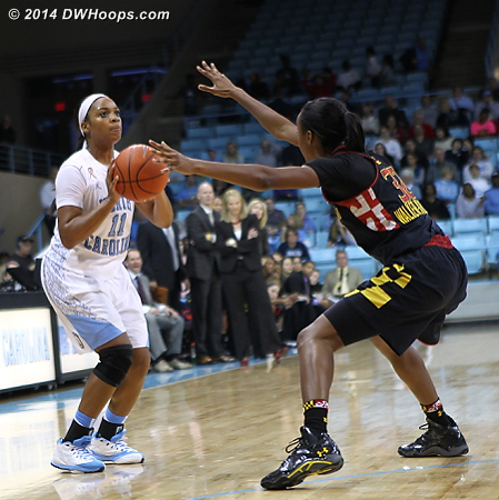 Finally UNC took a three, but missed that as well  - UNC Players: #11 Brittany Rountree - MD Tags: #32 Shatori Walker-Kimbrough