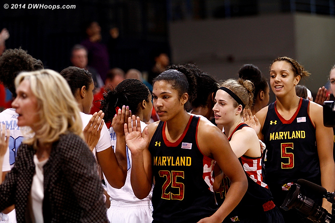 Post game handshakes concluded Maryland's last ACC appearance in Chapel Hill  - MD Players: #5 Malina Howard, #25 Alyssa Thomas, #40 Katie Rutan