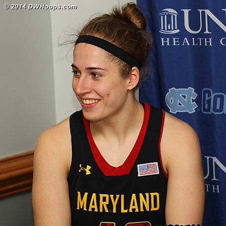 Post game press conference - Rutan smiled when reminded of the facemask she wore in her previous visit to Carmichael  - MD Players: #40 Katie Rutan