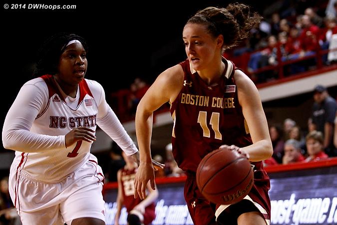 ACCWBBDigest Photo  - NCSU Players: #1 Myisha Goodwin-Coleman - BC Tags: #11 Nicole Boudreau