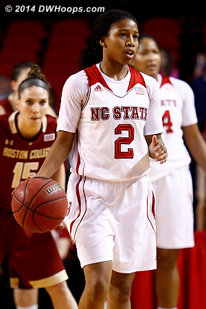 The pace was very deliberate for an 85-76 game  - NCSU Players: #2 Le'Nique Brown
