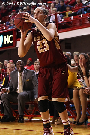 BC's hot hand was still heating up, but coach Hill recognized that she shouldn't be unguarded  - BC Players: #23 Kelly Hughes