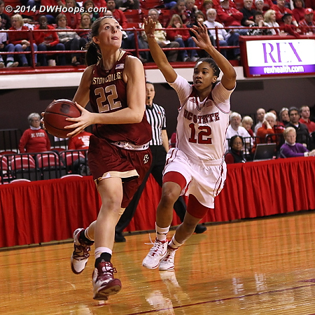 The drive to another missed layup  - NCSU Players: #12 Krystal Barrett - BC Tags: #22 Emilee Daley