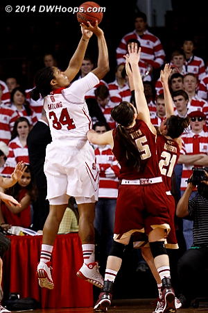Foul #1 on Zenevitch - no chance at changing the outcome of the shot  - NCSU Players: #34 Markeisha Gatling - BC Tags: #45 Katie Zenevitch