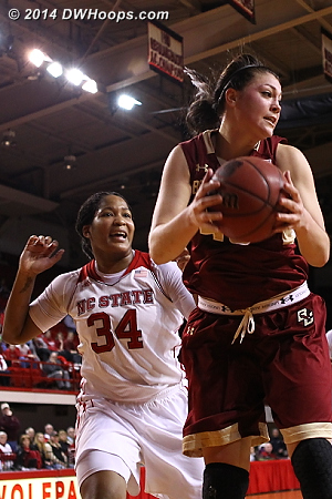 BC outrebounded State 19-13 in the first half  - NCSU Players: #34 Markeisha Gatling - BC Tags: #45 Katie Zenevitch
