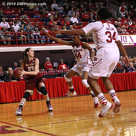 Hughes drawing attention from State's two bigs meant somebody else was open  - NCSU Players: #44 Kody Burke, #34 Markeisha Gatling - BC Tags: #23 Kelly Hughes