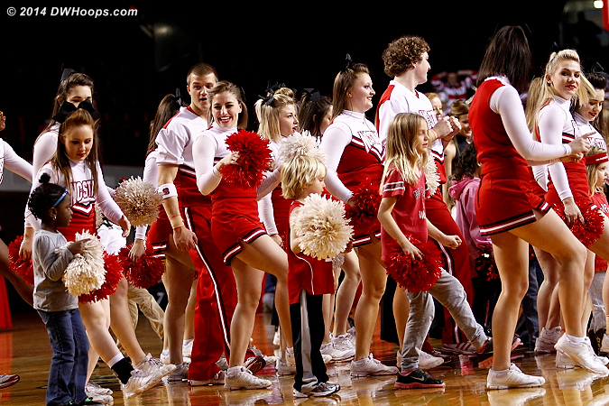 The first half time out with little kids dancing along is always fun  - NCSU Players:  NCSU Cheerleaders,  NCSU Fans