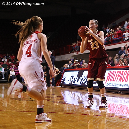 The hot hand strikes again, and it's down to eight  - NCSU Players: #4 Ashley Williams - BC Tags: #23 Kelly Hughes