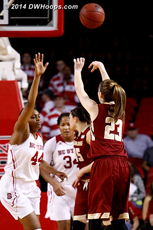 Hughes for three, it's a one point game  - BC Players: #23 Kelly Hughes