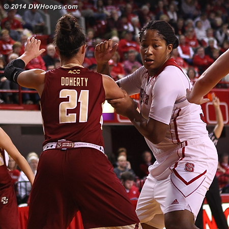 Jockeying for position in the paint  - NCSU Players: #34 Markeisha Gatling - BC Tags: #21 Kristen Doherty