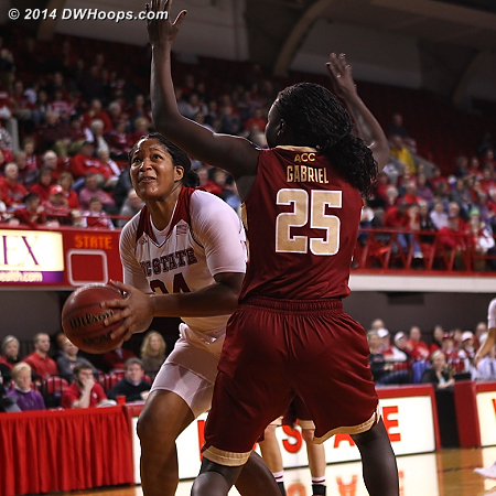 Gabriel came in after Zenevitch charged into her third, and drew a charge from Gatling  - NCSU Players: #34 Markeisha Gatling - BC Tags: #25 Karima Gabriel