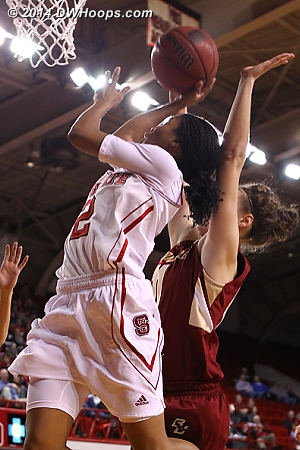 Len'Nique Brown was 9-10 from the line in the second half, here's one way she got there  - NCSU Players: #2 Le'Nique Brown - BC Tags: #11 Nicole Boudreau