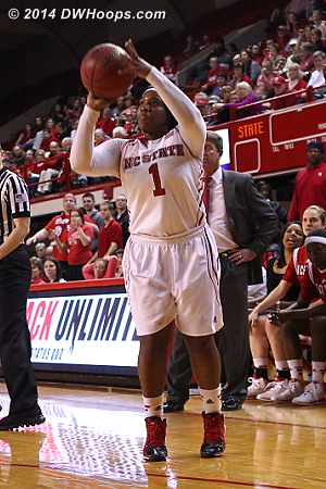 Swish - 73-60 Pack with 3:35 left - but BC's not quitting  - NCSU Players: #1 Myisha Goodwin-Coleman