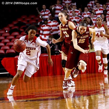 ACCWBBDigest Photo  - NCSU Players: #2 Le'Nique Brown - BC Tags: #15 Lauren Engeln