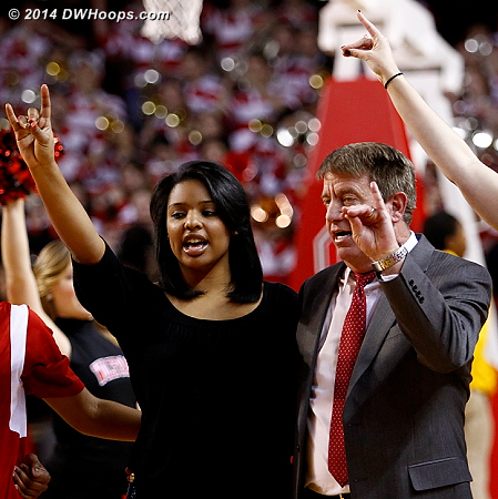 Celebrating the win the NC State way  - NCSU Players: Head Coach Wes Moore, Assistant Coach Nikki West