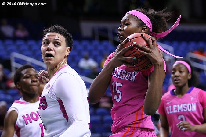 Clemson was usually first to the 50/50 balls  - CLEM Players: #15 Nyilah Jamison-Myers - VT Tags: #31 Monet Tellier