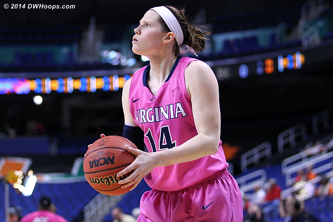 The oddity of a second warmup after player intros due to TV start time confusion gave us a great look at Lexie Gerson  - UVA Players: #14 Lexie Gerson
