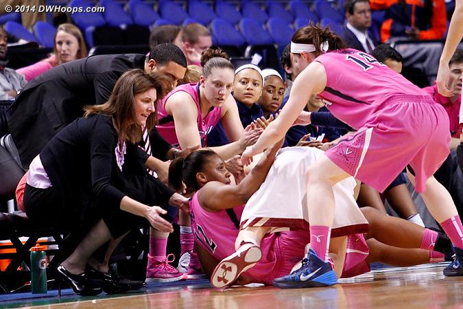ACCWBBDigest Photo  - UVA Players: Head Coach Joanne Boyle, #14 Lexie Gerson, #12 Breyana Mason