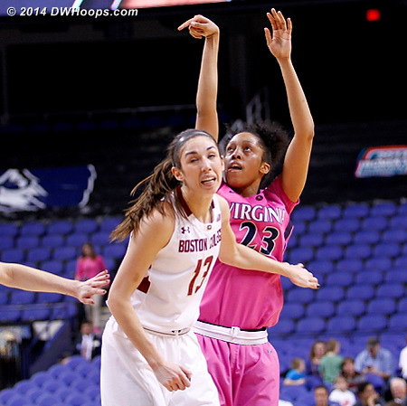 ACCWBBDigest Photo  - UVA Players: #23 Ataira Franklin - BC Tags: #13 Alexa Coulombe