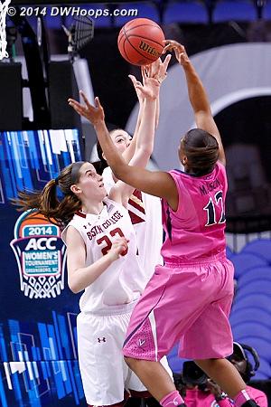 Rejection by Hughes  - UVA Players: #12 Breyana Mason - BC Tags: #23 Kelly Hughes