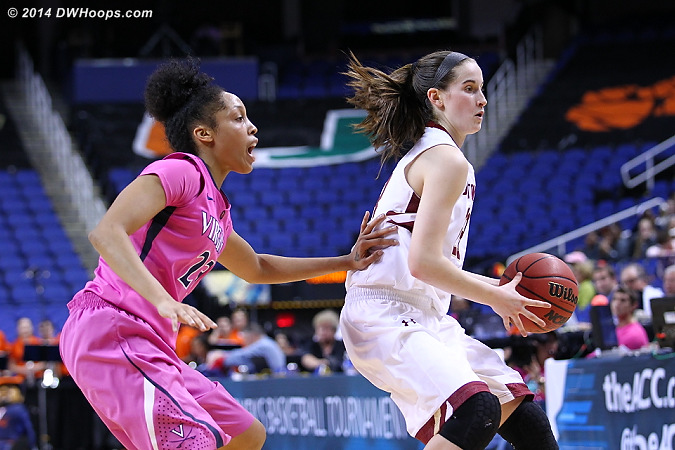 One touch to establish position is OK, if it's not a push  - UVA Players: #23 Ataira Franklin - BC Tags: #23 Kelly Hughes