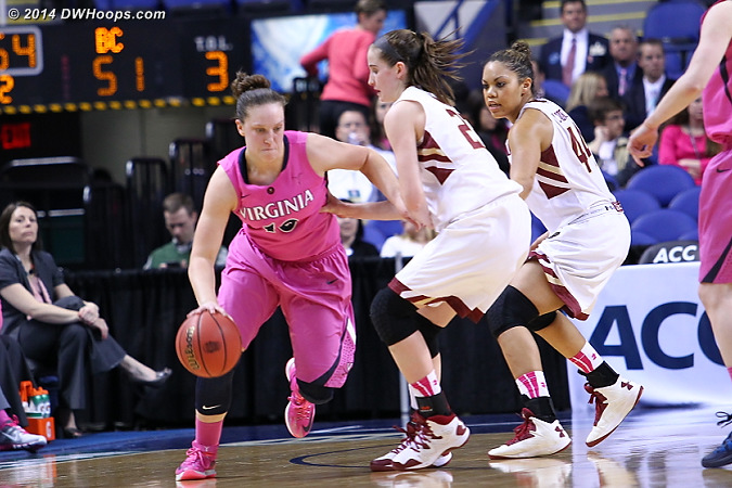 Called the same way on the other end  - UVA Players: #10 Kelsey Wolfe - BC Tags: #23 Kelly Hughes