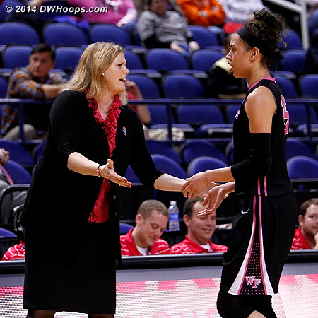 ACCWBBDigest Photo  - WAKE Players: Head Coach Jen Hoover, #25 Dearica Hamby