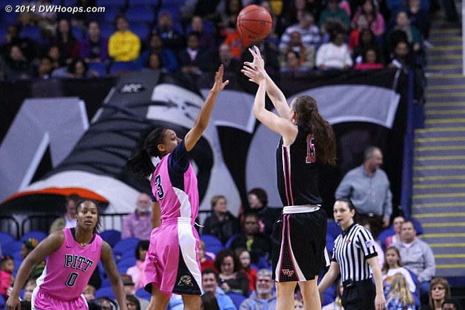 Wake goes up 32-24  - WAKE Players: #15 Millesa Calicott - PITT Tags: #3 Brianna Kiesel