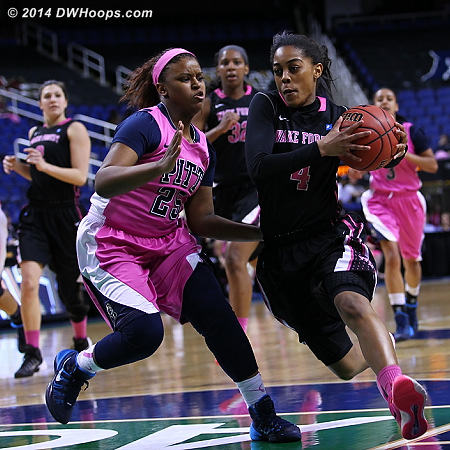 ACCWBBDigest Photo  - WAKE Players: #4 Mykia Jones - PITT Tags: #25 Brittany Gordon