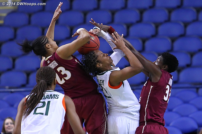 ACCWBBDigest Photo  - MIA Players: #23 Adrienne Motley - FSU Tags: #33 Natasha Howard, #23 Ivey Slaughter